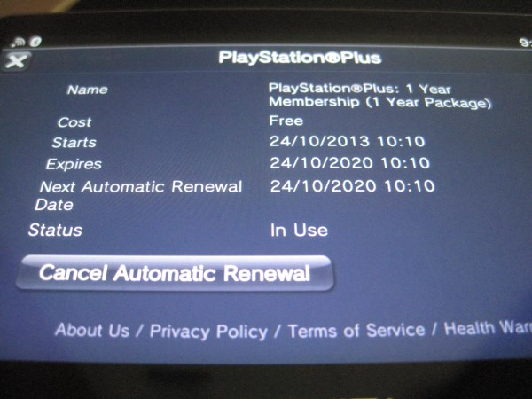 I'm a Playstation plus member until 2020, for free