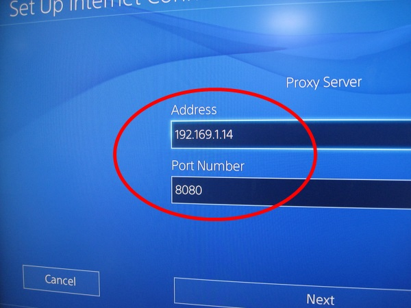 Using a proxy server on ps4