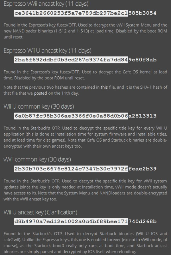 The Wii U keys dumped by the Fail0verflow team