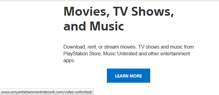"The Playstation TV page mentions only Sony's services for Video and Music. The ""Learn More"" button points to the Sony ""unlimited"" service. No mention about Netflix, Hulu, Youtube, etc..."