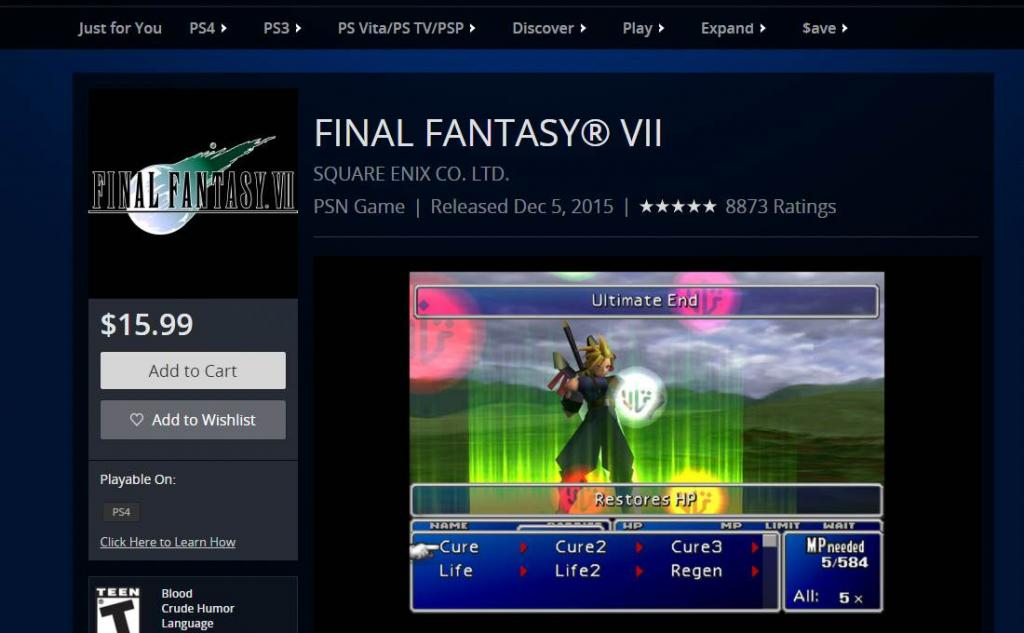 SteamOS on PS4 - Final Fantasy VII PSN Store