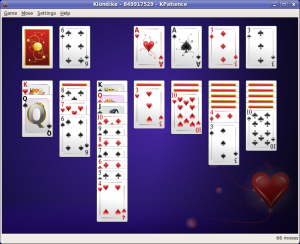 KPatience; an open source version of Solitaire from the KDE games set.