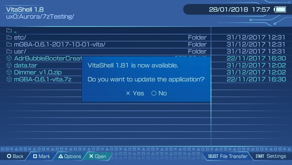 VitaShell 1 81 released - Now much easier to transfer files between