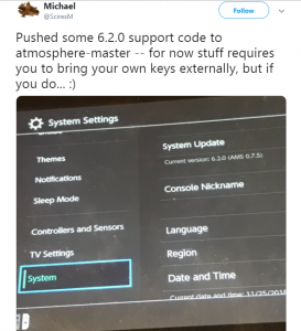 Progress being made on porting Atmosphere to FW 6.2.0 - External keys are required right now