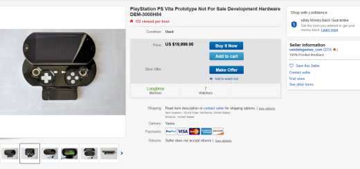 PSVita Slider Prototype is currently on sale on eBay!