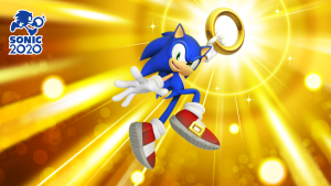 """Imagine of Sonic holding a ring up, with the """"SONIC2020"""" logo in the top left corner."""