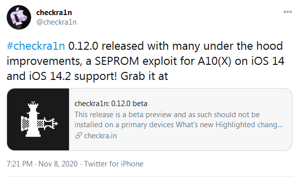 iOS Jailbreaking: Checkra1n 0.12.0 released with support for iOS 14.2, A10(X) devices & partial A11 support!