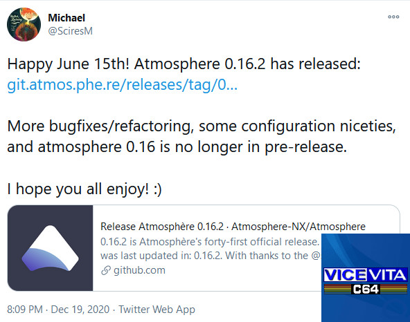 Switch & Vita releases: Atmosphere 0.16.2 released with minor fixes & improvements + VICEVita 1.2 is out for the Vita with better Commodore 64 emulation!
